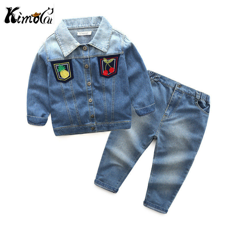 Kimocat boy and girl High quality spring autumn children's cowboy suit version of the big boy cherry embroidery jeans two suits kimocat boy and girl high quality spring autumn children s cowboy suit version of the big boy cherry embroidery jeans two suits