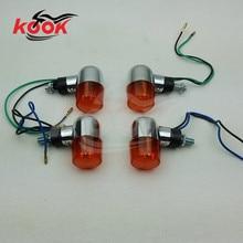 Retro orange lens chrome 8mm partes parafuso universal profissional de acessórios de moto modificado Piscas moto rcycle transformar a luz do sinal