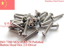 Stainless Steel screws M3x14  Button Head  ISO 7380 Hex Driver A2-70 Polished ROHS цена
