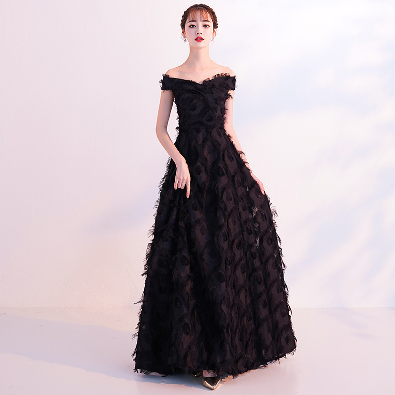 2019 New Slim Banquet Feathers Shoulder Sexy Elegant Dress2019 New Slim Banquet Feathers Shoulder Sexy Elegant Dress