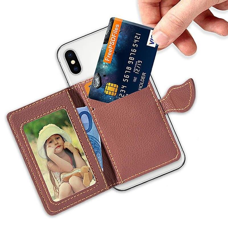 Creative PU leather Phone Wallet Case Women Men Credit Card Holder Pocket Stick 3M Adhesive Fashion Mobile Phone Card Holder wallet