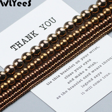 WLYeeS Copper Color Beads Round Plating Hematite Natural Stone 2 3 4 8 10mm Loose Jewelry Bracelet Making Accessories DIY