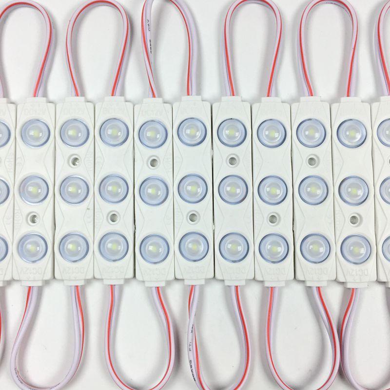 10 개/몫, 새로운 2835 3LED 주입 led 모듈 12V 렌즈 방수 IP66, 160 학위 1.5W 화이트, LED 기호, 숍 배너, 밝은