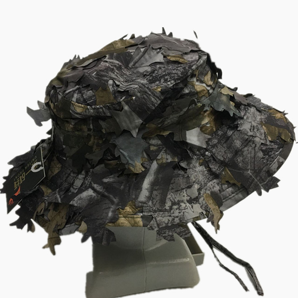Adjustable Hunting Hat Training Fishing Tactical Camouflage Effect 3D Leaves Flat Cap Sun Protection Bird Watching War GamesAdjustable Hunting Hat Training Fishing Tactical Camouflage Effect 3D Leaves Flat Cap Sun Protection Bird Watching War Games
