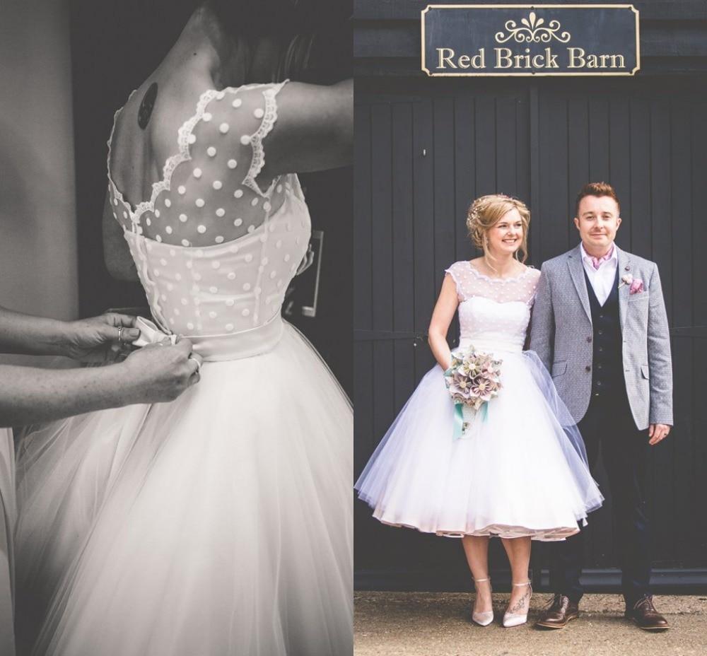 Vintage 1950s Style Polka Dotted Short Wedding Dress Tea Length