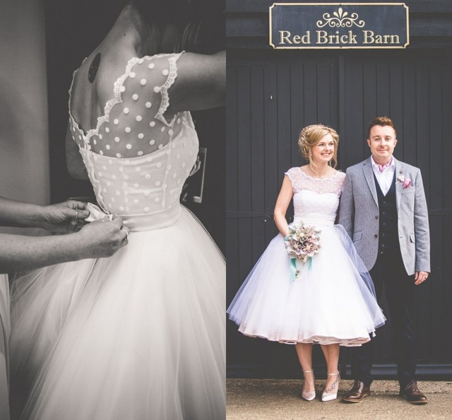 Vintage 1950s Style Polka Dotted Short Wedding Dress Tea Length ...