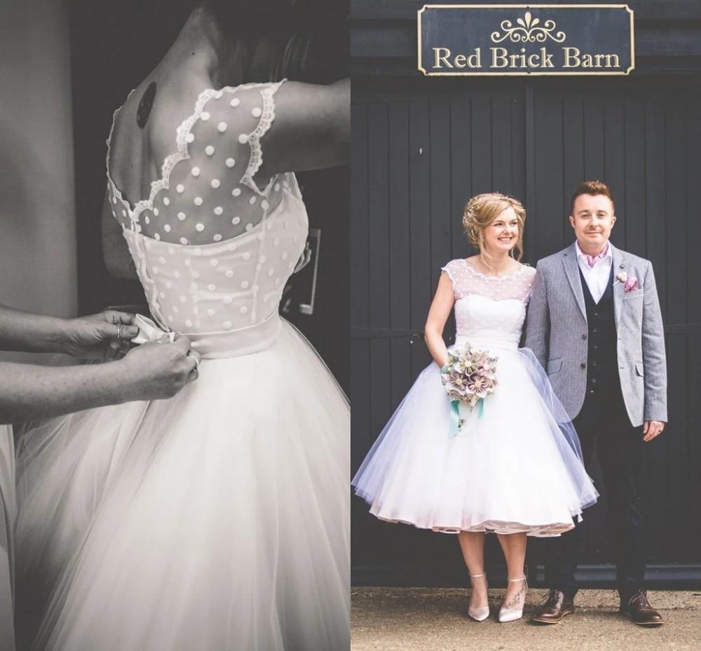 Vintage 20s Style Polka Dotted Short Wedding Dress Tea Length Little  White Dresses Vestidos de Novia Beach Bridal Dress