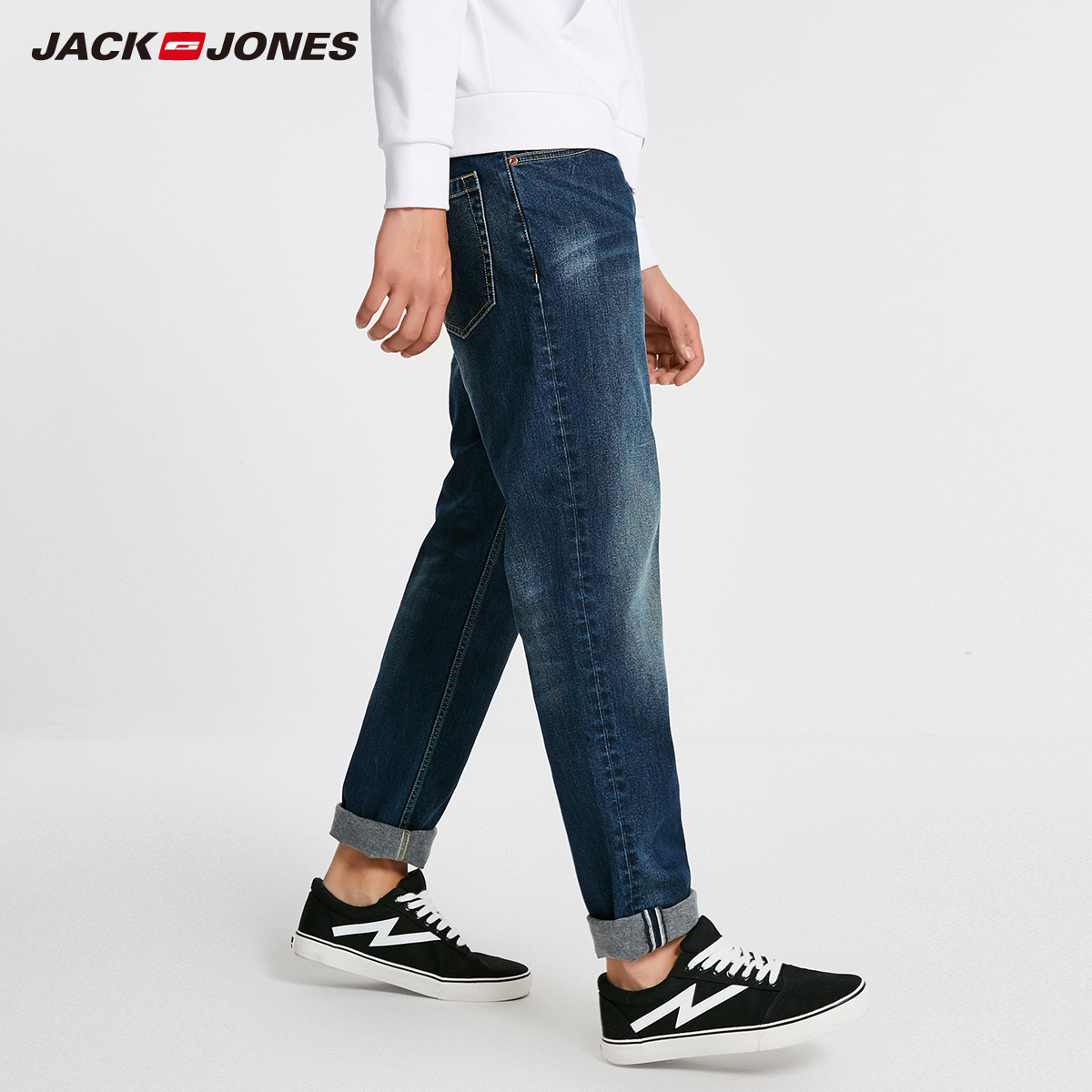 Image 2 - Jack Jones Men Jeans Brand Thick Warm Cotton Solid Straight Jeans Denim Trousers Mens Biker Jeans  218432505-in Jeans from Men's Clothing
