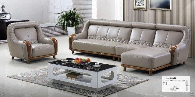 Woonkamer meubels moderne U vormige leer stof hoek sofa set ontwerp ...