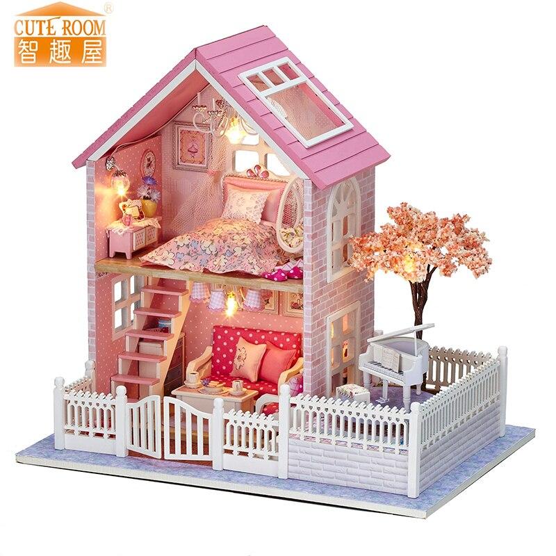 Meubels DIY Poppenhuis Wodden Miniatura Poppenhuizen Meubels Kit DIY Puzzel Monteren Poppenhuis Speelgoed Voor Kinderen cadeau A036