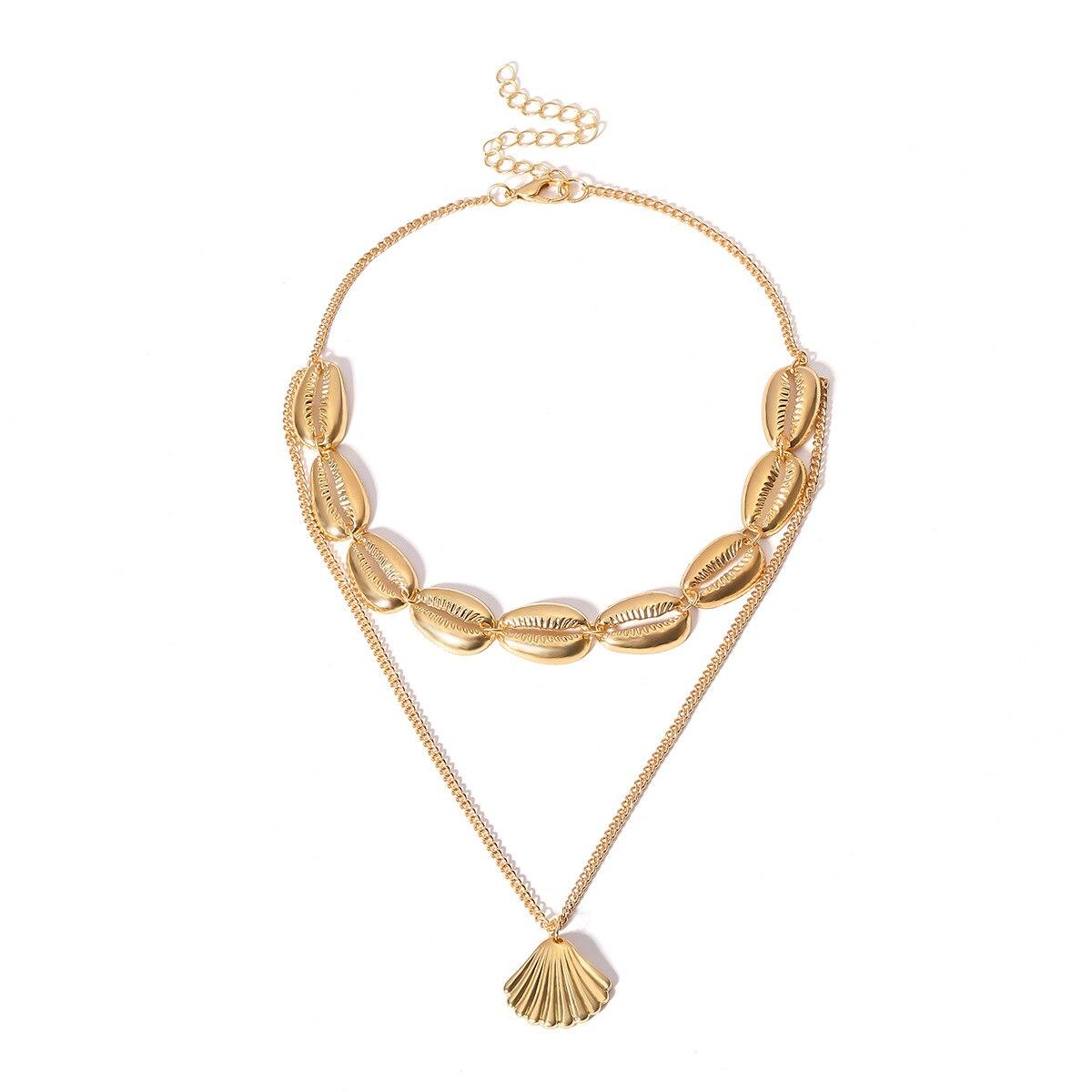 63e0295ef27f Boho Hawaiano cowrie oro concha de mar collar gargantilla joyería de playa  Bohemia borla collar de cadena de oro para las mujeres Chocker