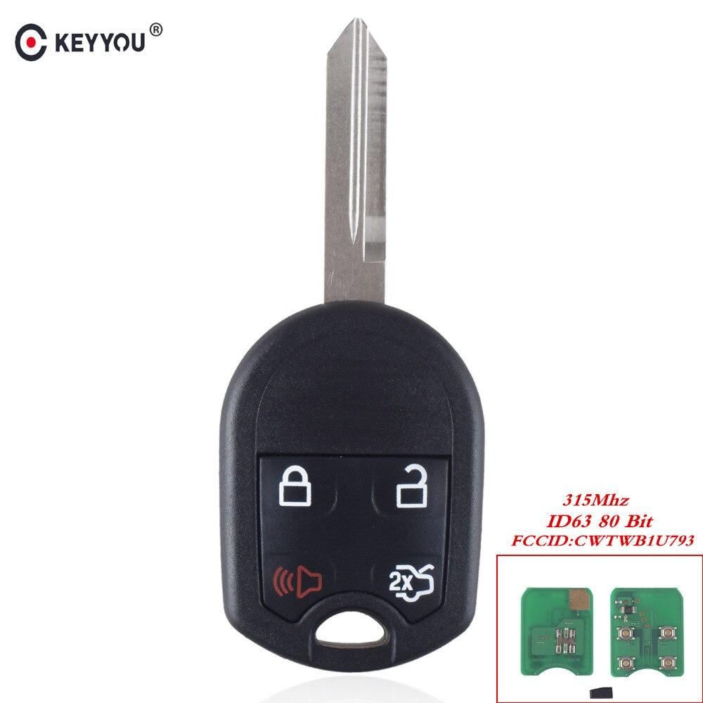 KEYYOU 4 Taste Smart Remote Keyless Auto Schlüssel Für Ford Edge Flucht Expedition Explorer Mit 4D63 Chip 80 Bits CWTWB1U793 315 Mhz