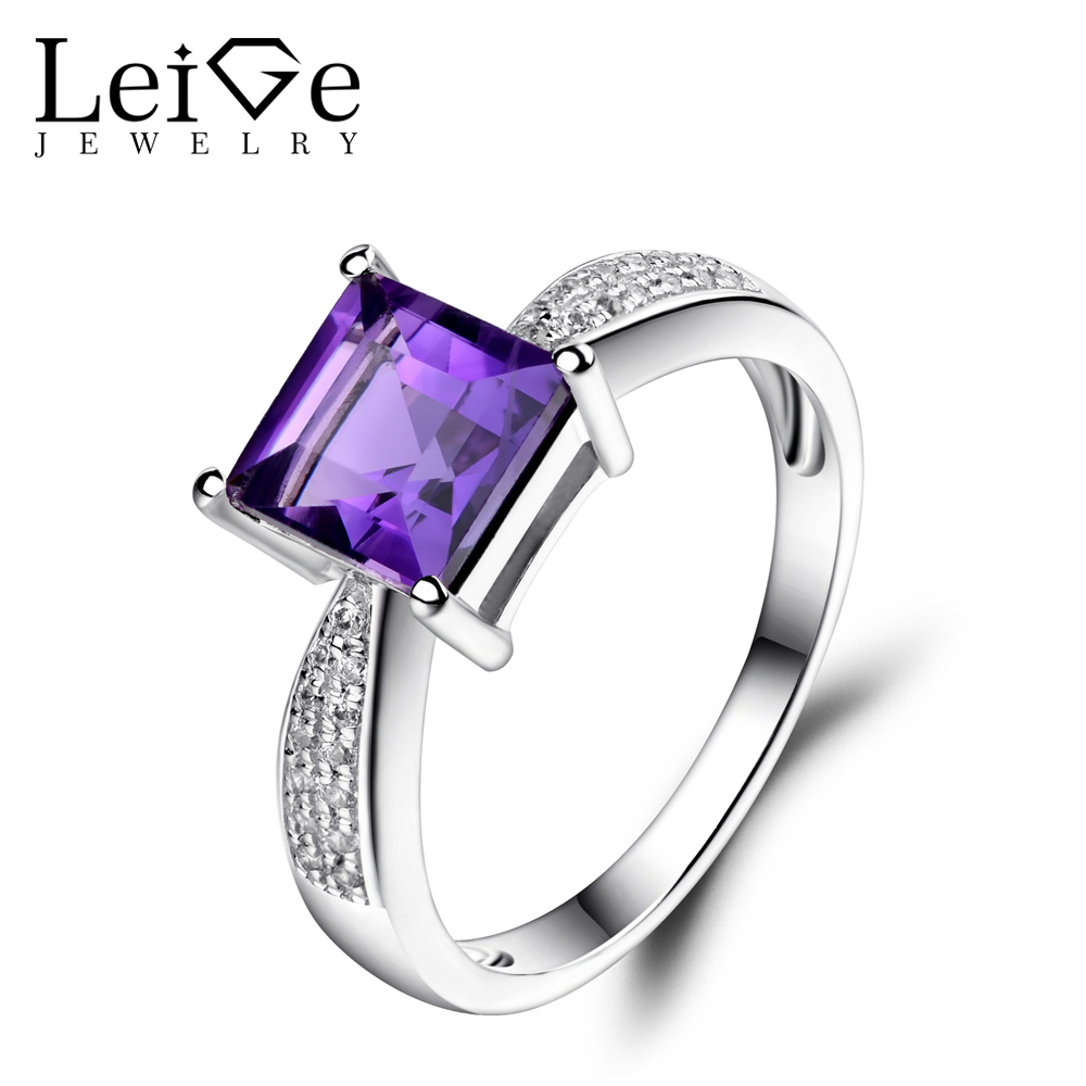 Leige Jewelry Square Cut Amethyst Ring Purple Gemstone Wedding Engagement Rings for Women 925 Sterling Silver Fine Jewelry leige jewelry natural amethyst ring purple gemstone oval shaped wedding engagement rings for women sterling silver 925 jewelry