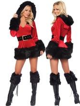 Sleeves Hoodies Xmas Costume with Legging Black Sexy Fur Trim Velvet Santa Dress women christmas party dress disfraces adultos