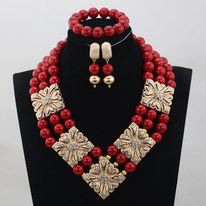 African Wedding Bridal 2017 Luxury Design Wine Red Coral Beads Jewelry sets Women Beads Necklace Jewelry Set Free ShippingABH185