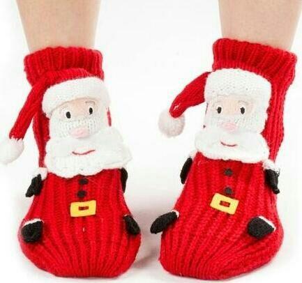 Misturas de Algodão da Cor do contraste inverno adulto dos desenhos animados meias chão, Santa meia de lã socking, espessamento slip-resistente térmica meias