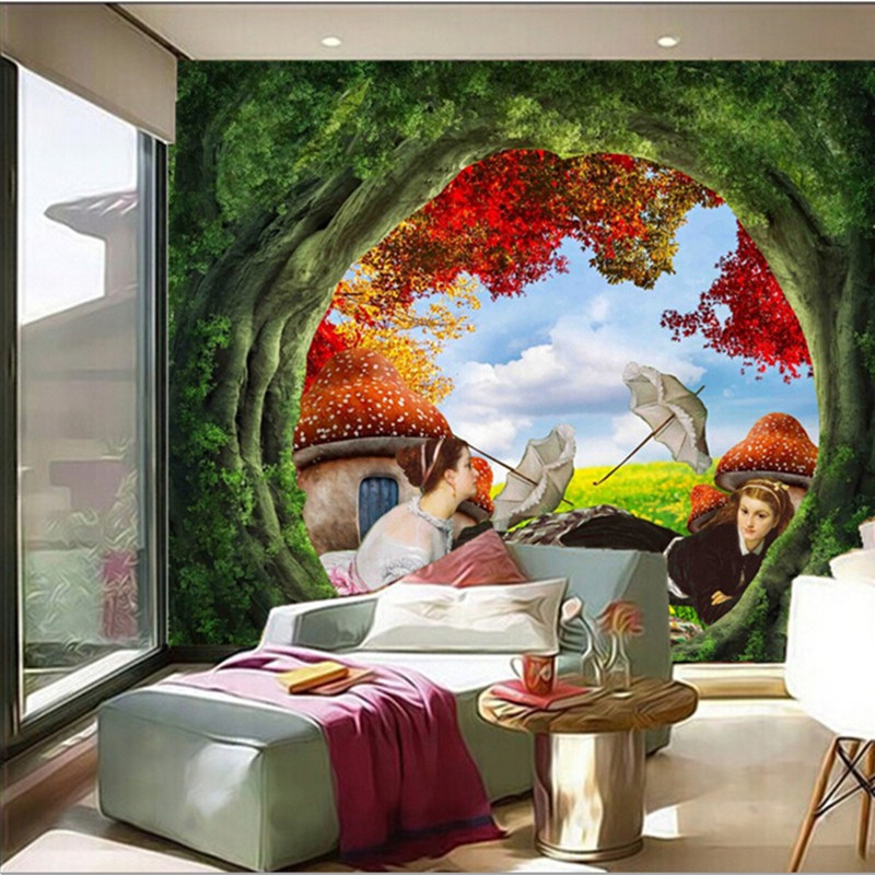 Custom 3D murals,falls in the beautiful forest papel de parede,living room sofa TV wall bedroom restaurant vintage wallpaper custom 3d murals cartoon wolf papel de parede hotel restaurant coffee shop living room sofa tv wall children bedroom wallpaper