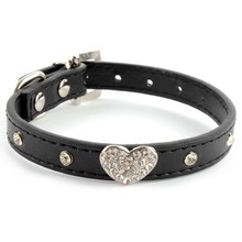 Bling Rhinestones Crystal Heart Leather Collar Adjustable For Pet Dogs Cat