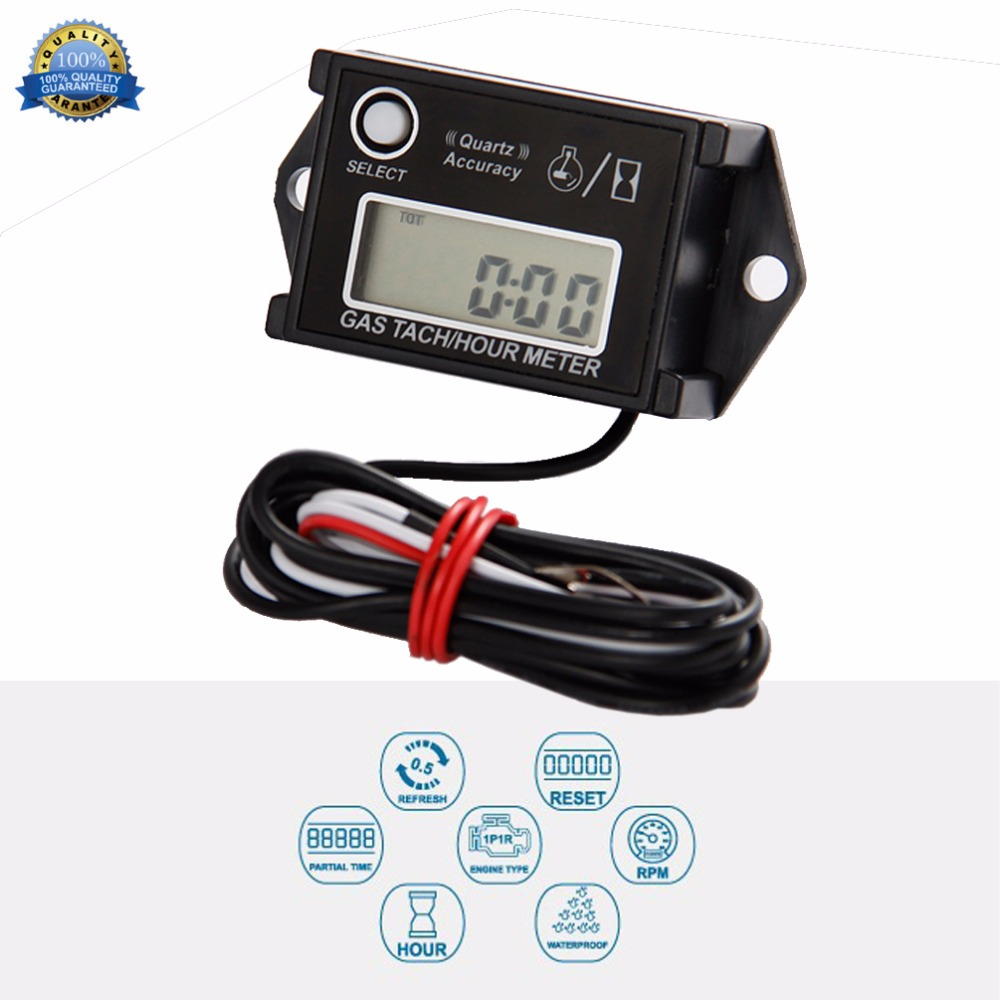 / Inductive Tachometer Digital Hour Meter RPM Counter Resettable Hour Meters for Snowmobile Skis Motor Bike Go Kart Lawn Mower Boat