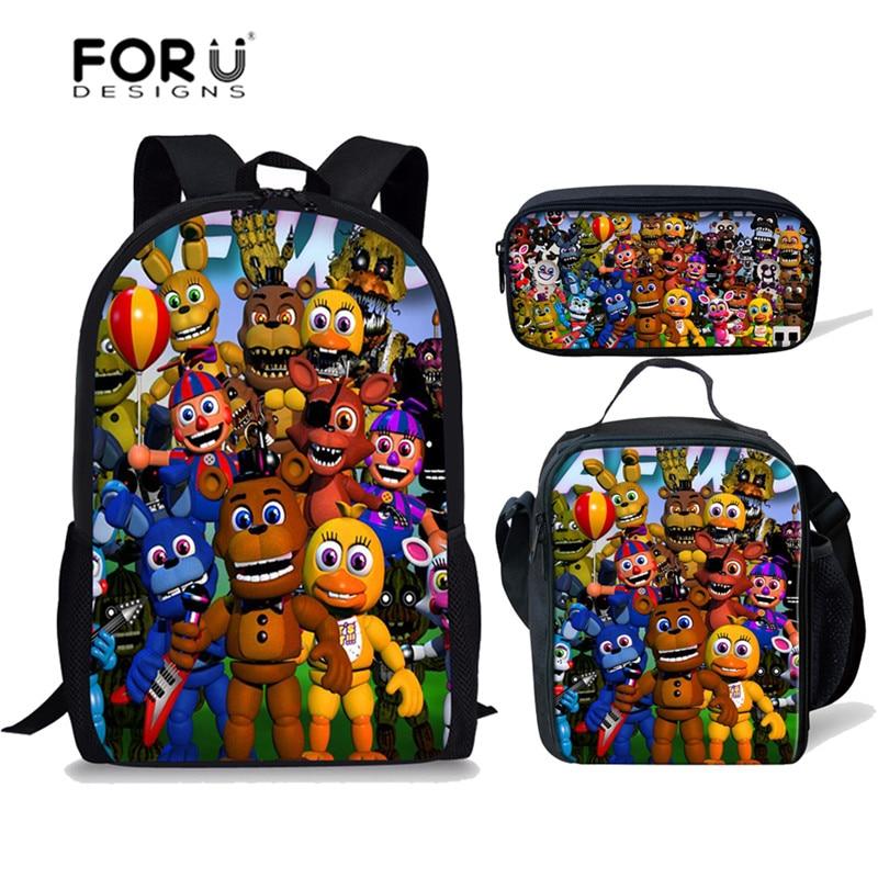 fd7c3bb4e19c FORUDESIGNS/пять ночей на Фредди печать мультфильм детский рюкзак для мальчиков  школьные сумки начальный Детский рюкзак для девочек Mochila