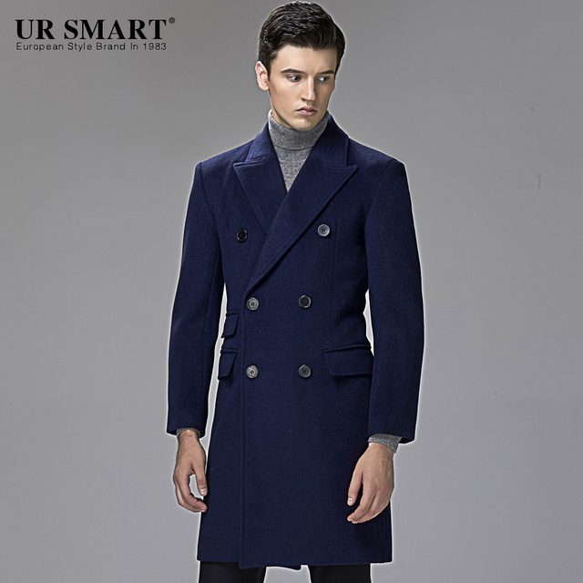 1d3ff2f42b2 Military style URSMART new wool coat navy blue double-breasted men  cultivate one s morality men s coat