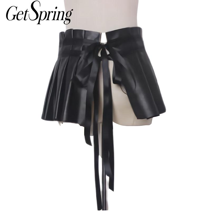 Folding Skirt Girl Leather Skirt Leather Pants All-match Essential Skirt Wide Belt Black Stovepipe Pants Waist