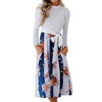 DYAutumn 2018 Dress Women Casual Patchwork Floral Print Dress Long Sleeve Fashion Beach Dress Sundress Summer Vestidos De Fiesta