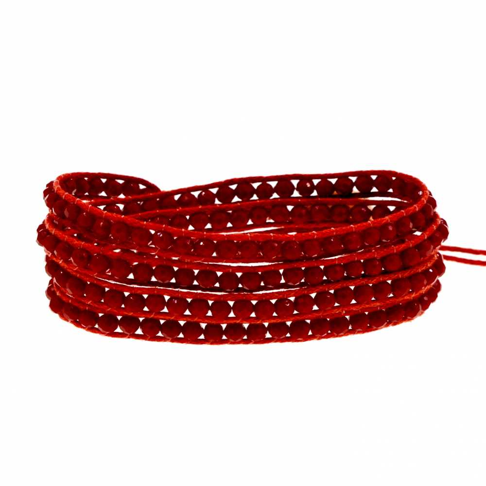 Charming 4 round red crystal wrap bracelet cuff bangle crystals beaded bracelets for women
