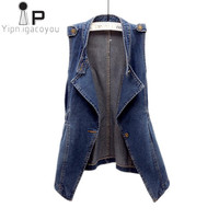 Autumn Women Denim est 2018 Korean Plus size Moto & Biker Ladies Sleeveless Jacket Vintage Jeans Women's Vest Slim Waistcoat