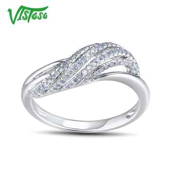 VISTOSO Genuine 14K 585 White Gold Sparkling Fancy Diamond Ring For Women Luxury Engagement Anniversary Trendy Lady Fine Jewelry - DISCOUNT ITEM  48 OFF Jewelry & Accessories