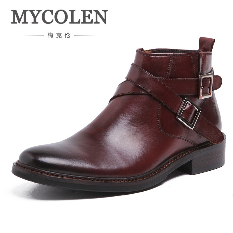 MYCOLEN Men Round Toe Ankle Boots Male Fashion Black Leather Shoes Men High Tops Buckle Strap Genuine Leather Martin Boots mycolen men boots genuine suede comfort leather sewing minimalist design black thread men ankle boots leather male shoes adult