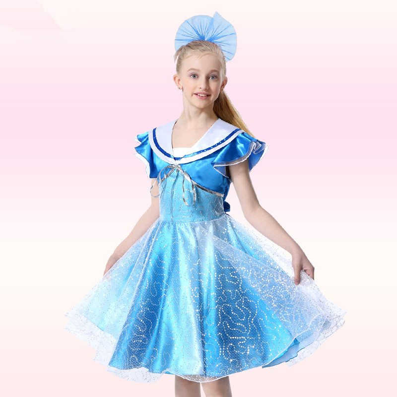 Bridal Designer Elegant Pageant Princess Dress Navy Collar Petal Sleeve Tippet Girls Fairy Kids Modern Dance Costume