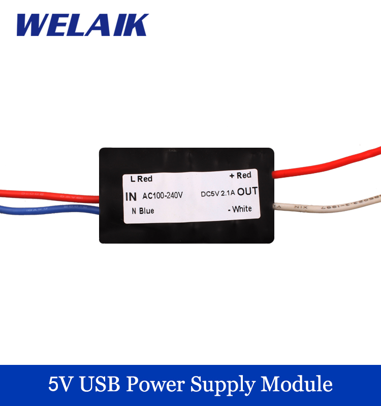 WELAIK 5V USB power supply module 2.1A Mobile phone charging Input AC100~240V Output voltage DC 5V 2100mA  USB01 multifunctional dc voltage regulator stabilizer cable wire power supply interface cable line mobile phone repair tools usb