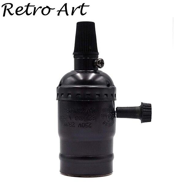 Алюминиевый патрон Эдисона с выключателем E26 E27 винтажный подвесной патрон - Цвет: S-Pearl Black