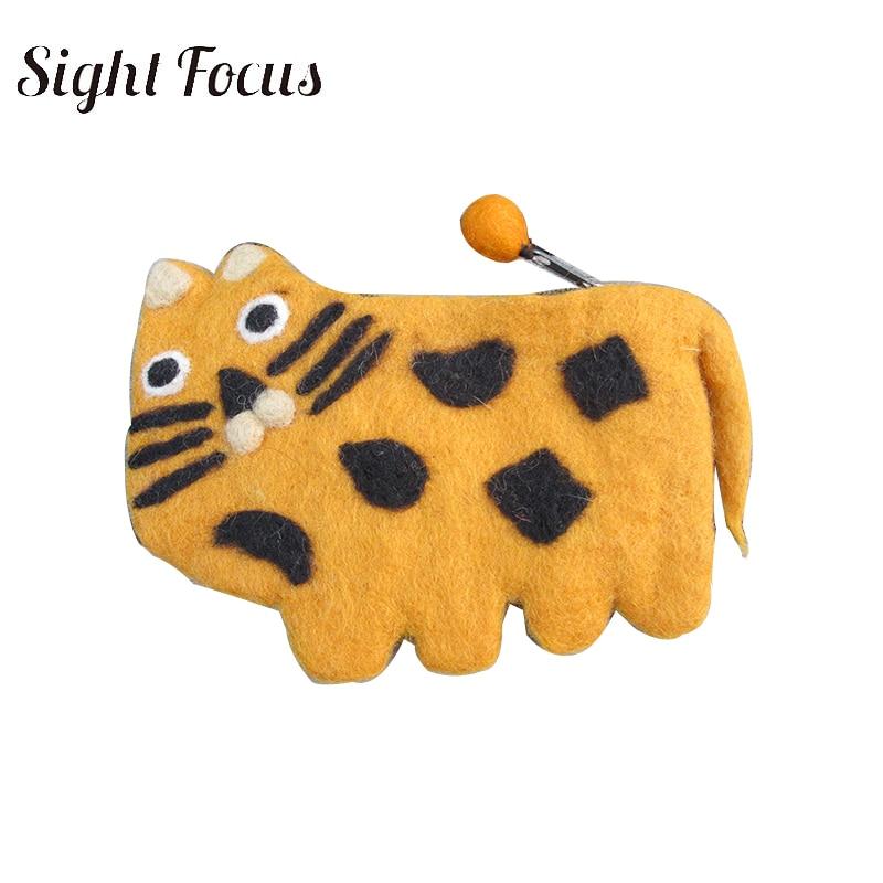 Sight Focus Brand Handmade Wool Purse Felt Tiger Animal Coin Purse Children Cute Zipper Coin Purse Small Wallet Christmas Gifts
