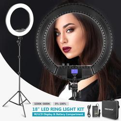 Neewer 18-inch Bi-color LED Ring Light with LCD Display and Battery Holder, Max. 61.8inch Stand and Carry Bag