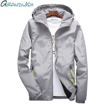 Grandwish  New Summer Mens Fashion Outerwear Solid Windbreaker Jackets Men' S Thin Jackets Hooded Casual Big Size,DA686