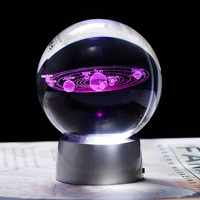 Кристалл Солнечная Системы подарочные шарики с платной красочные светодиодный базы Стекло планет мяч вечерние сувениры подарок для Astrophile