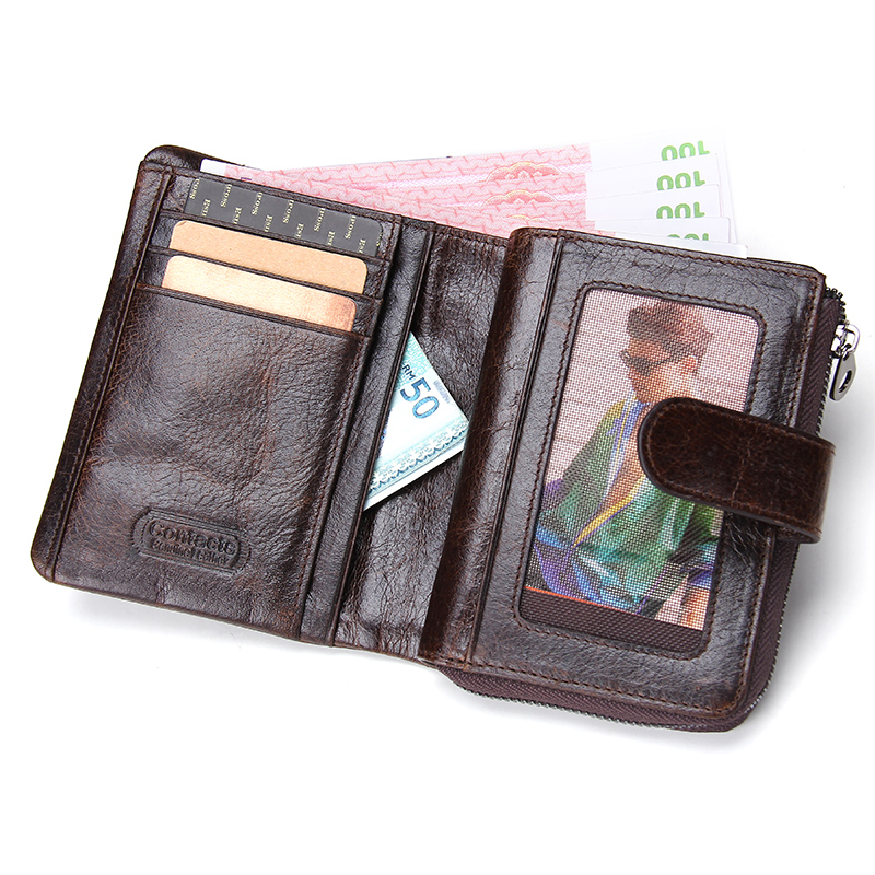 CONTACT'S 100% Genuine Leather Men's Wallet Hasp Design Vintage Men Wallets Coin Purse Short Male Wallet Man Portomonee Walet 2