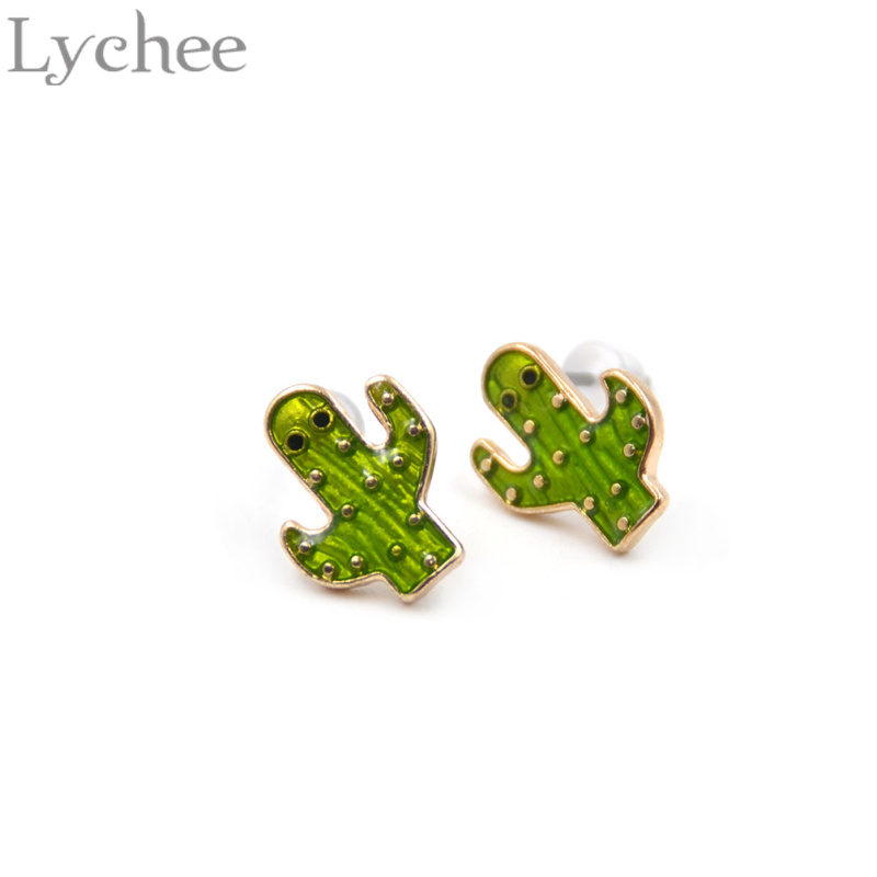 Lychee 1 pair Cute Metal Plant Green Cactus Stud Earrings Jewelry for Men Women