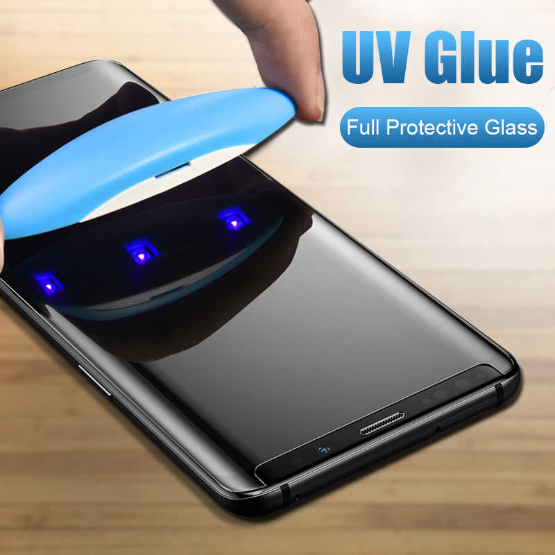 5D UV Full Glue Tempered Glass for Samsung S10 S8 S9 Plus Screen Protector for Samsung Galaxy Note 8 9 S7 S6 Edge with UV liquid