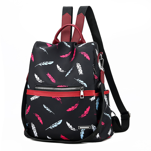 Anti Theft Dual Shoulder Backpack Fashion Oxford Women Canvas Backpack Ladies Small Travel Back Pack Chest Bag 98356