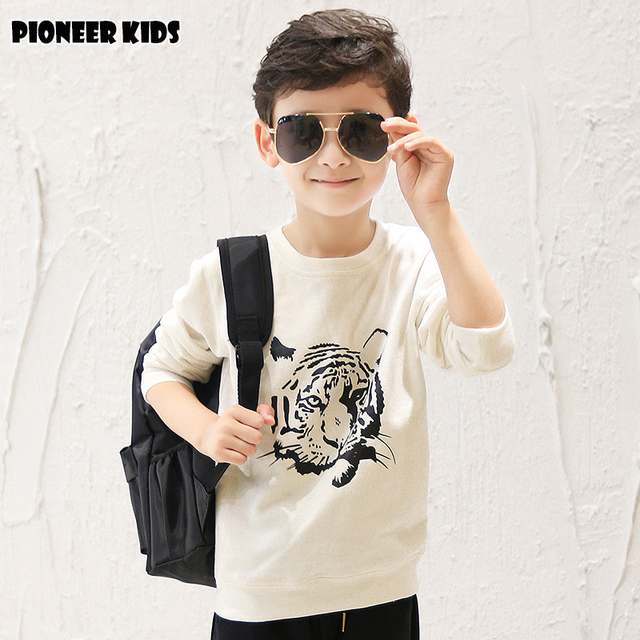 Pioneer Kids  Long Sleeves Children's Recreational Coat New Design Fashion Boys T Shirt Children's Clothing T Shirts Retail