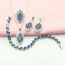 Zafiro Azul Plateado Sistemas de La Joyería Para Las Mujeres Pendientes de Gota de Piedra Artificial/Pulsera/Pendiente/Collar/Anillo Caja de Regalo libre