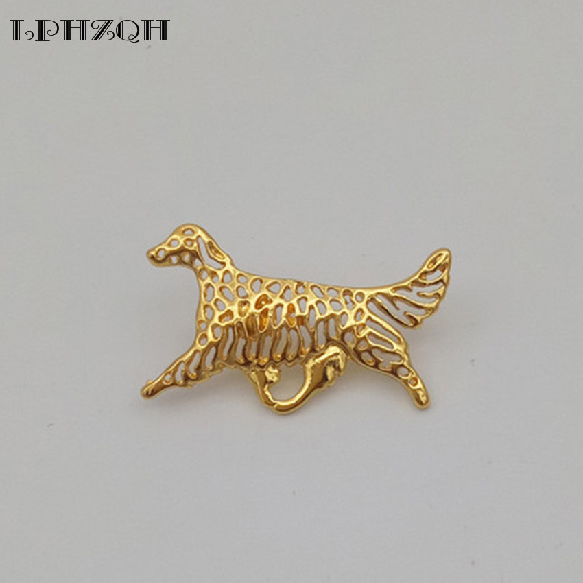 LPHZQH 2017 fashion English Setter dog Broches Butterfly Clasp Collar Pin Jewelery Clothing Accessories Men's Gift