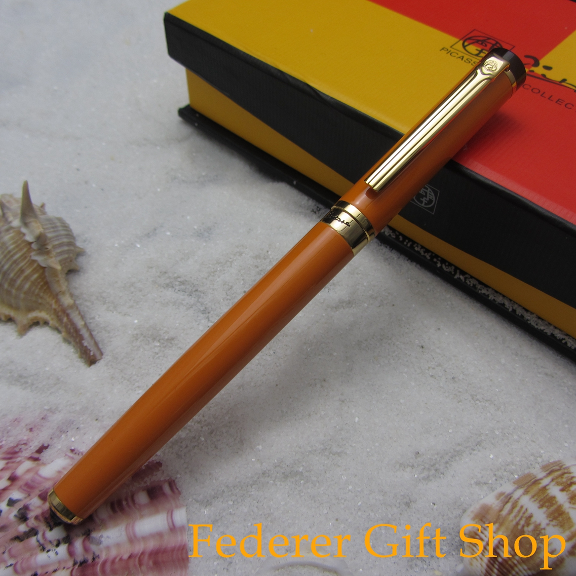 Picasso 908 Century Pioneer Fountain Pen Orenge and Gold Clip F Nib Metal Case Ink Pen 3 Color Optional цены