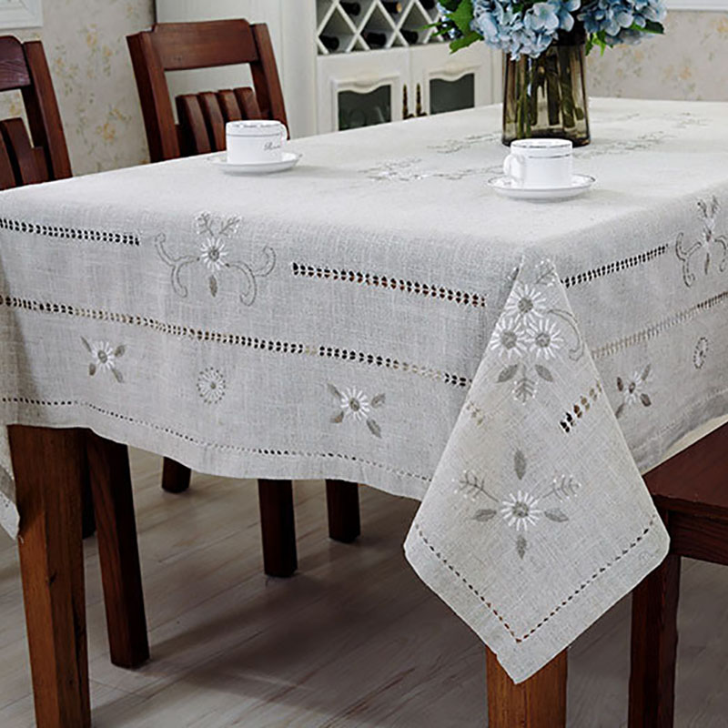 Linen table cloth woven printed pastoral - Linge de table raffine ...