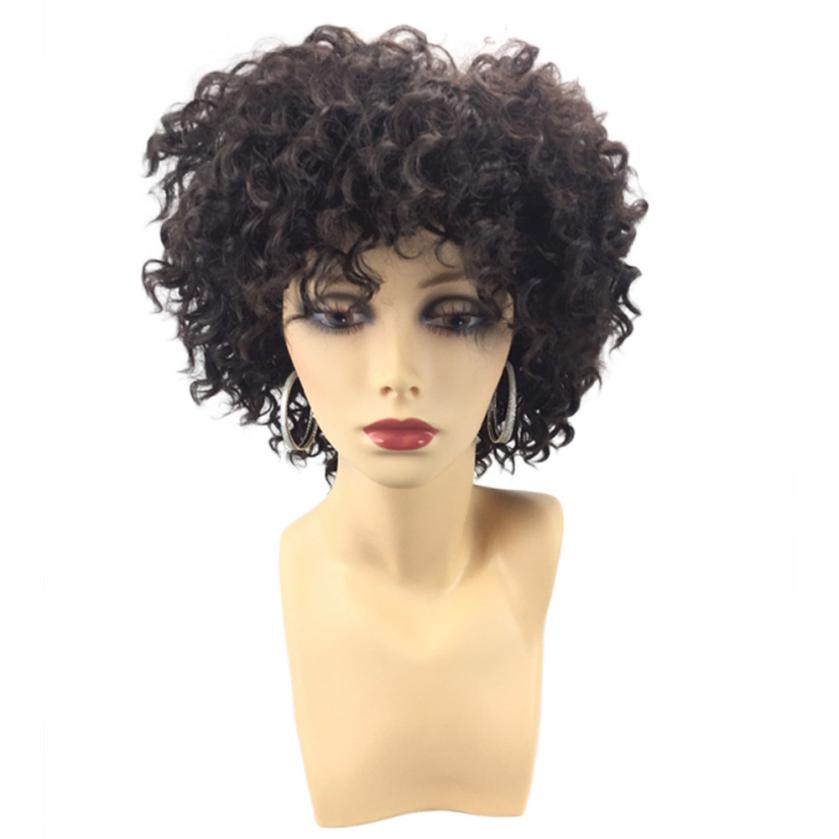 Womens Fashion Short Side Fringe Fluffy Afro Curly Synthetic Wig Hair 0703