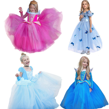 Girl Princess Dress up Costume Aurora Cendrillon Belle Jasmine Sleeping Beauty Dresses Child Kids Party Halloween Fancy Frock