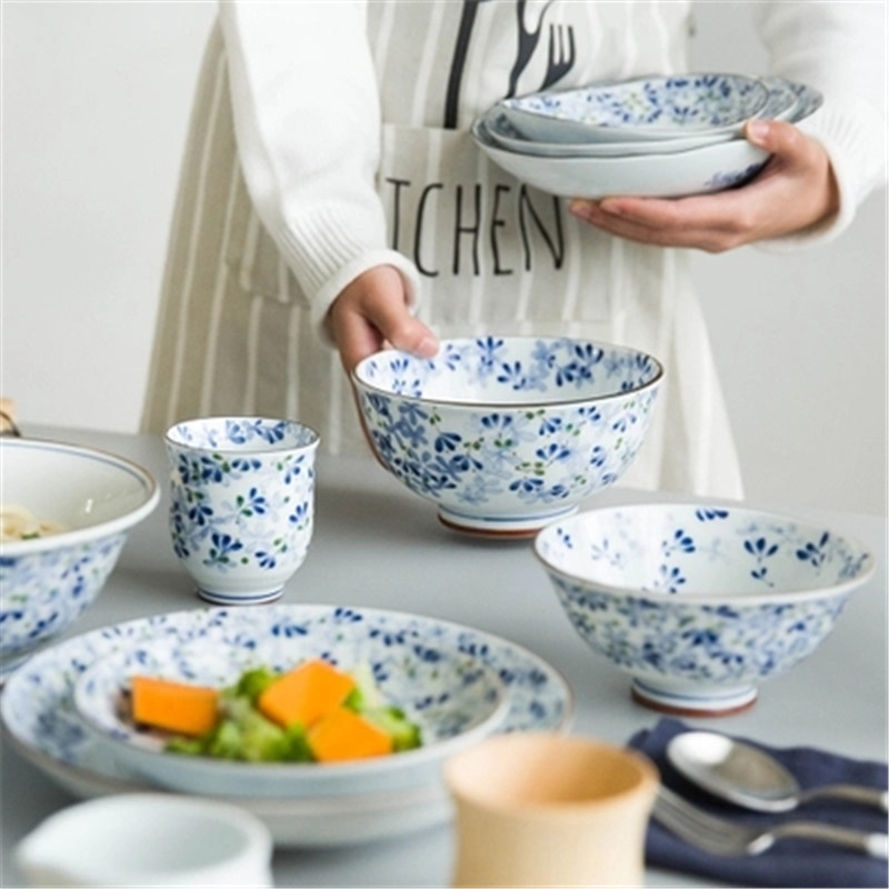 KINGLANG Japanese blue flower series ceramic tableware household Western dish rice bowl large soup bowl